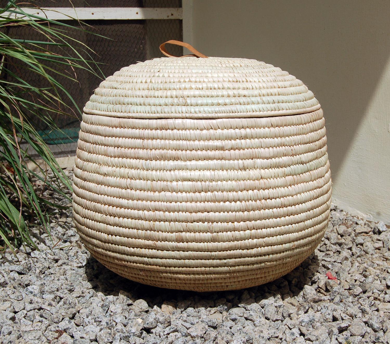 AfriMod Natural #5:  Modern Minimalist – Large Lidded Storage Basket