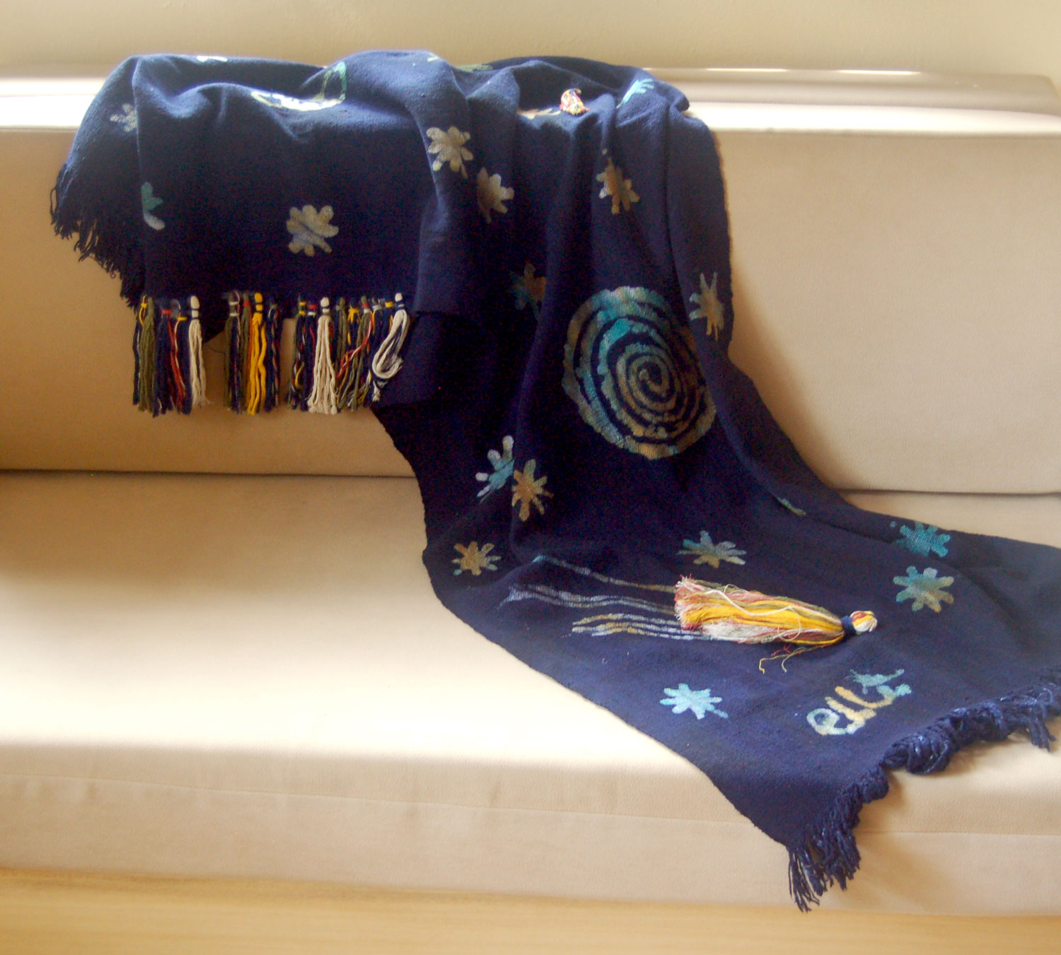 Playful Handspun Handwoven Cotton Throw – Cosmos