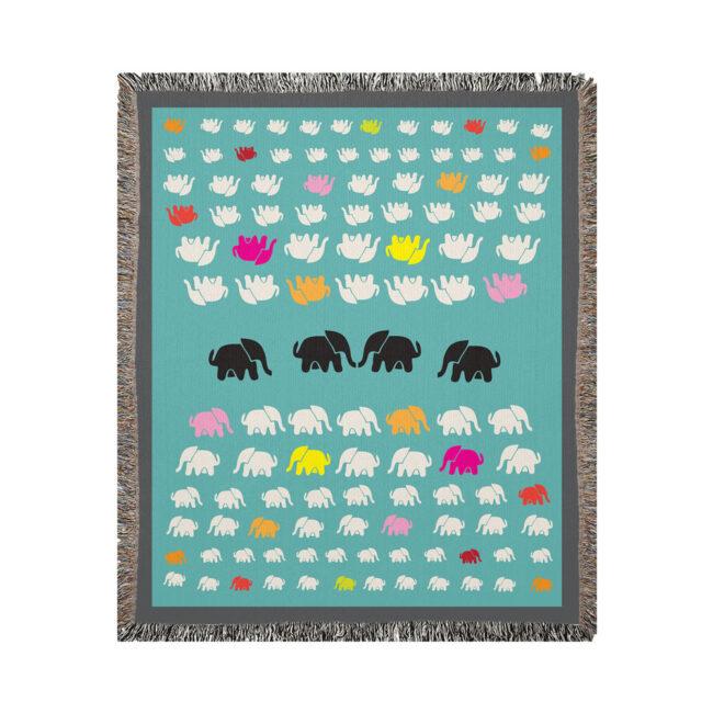 Elephant Parade – Cozy elephant adorned cotton throw