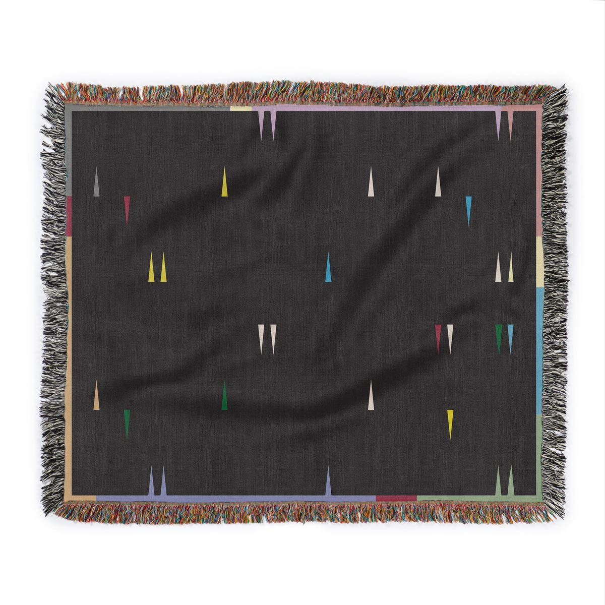 Fula V (dusk) – black woven cotton throw blanket with colorful triangles
