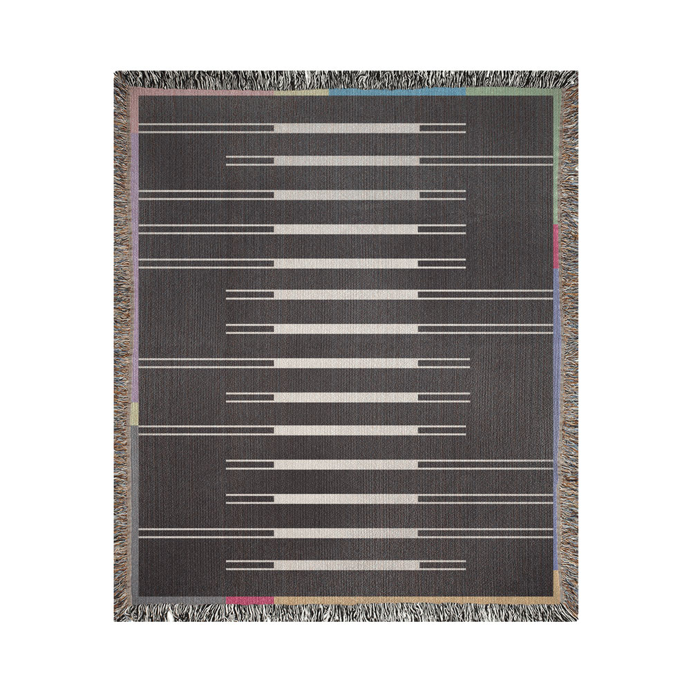 Fula I (dusk) – black & white striped woven blanket with colorful border