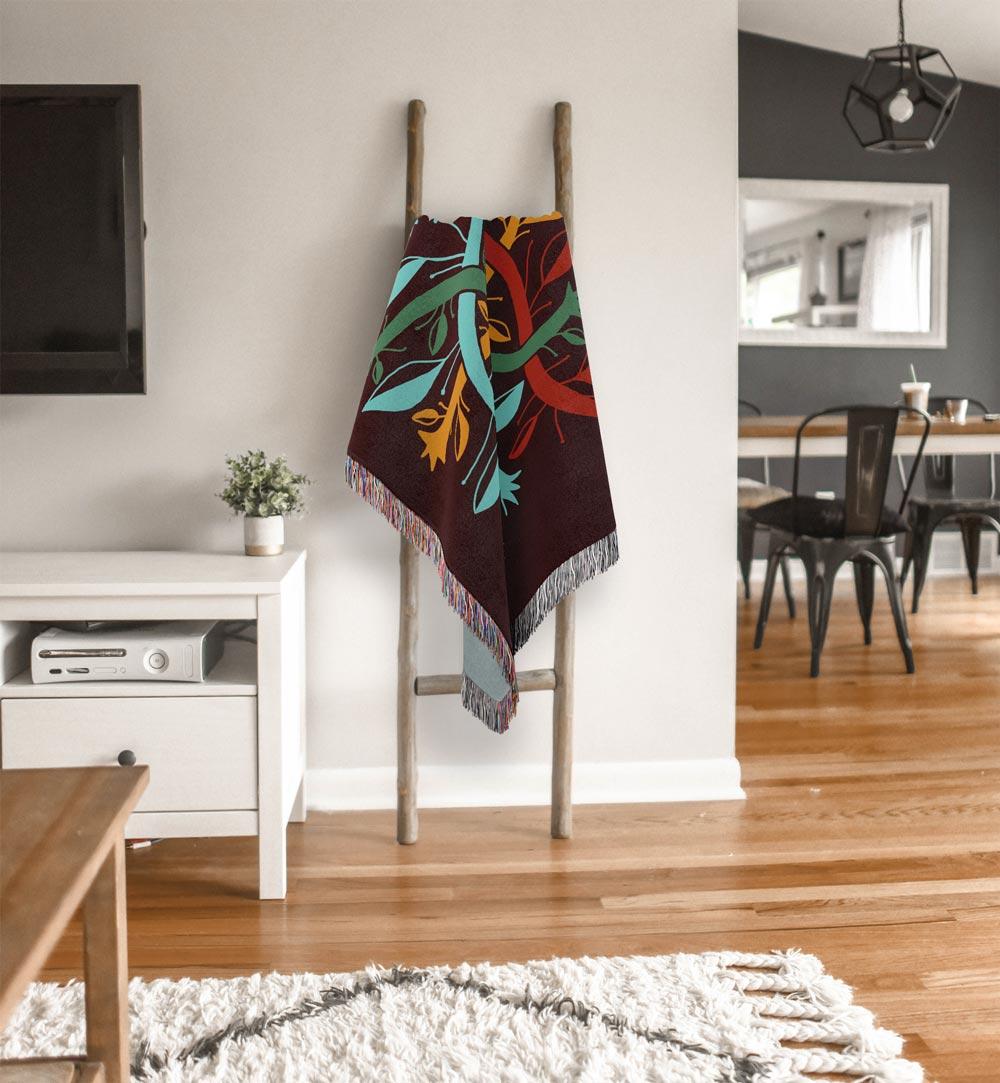 Bogolanfini Garden – mud cloth inspired woven cotton throw