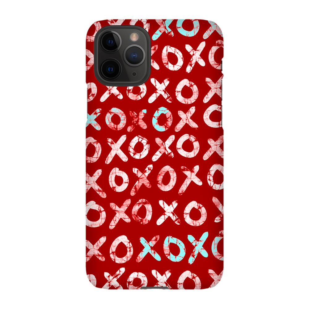 Red Batik Hugs + Kisses (XOXO) iPhone Case