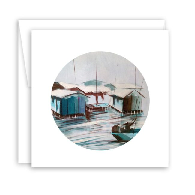 Square Note Card Set of Serene Watercolors & Surreal Illustrations (set of 8)