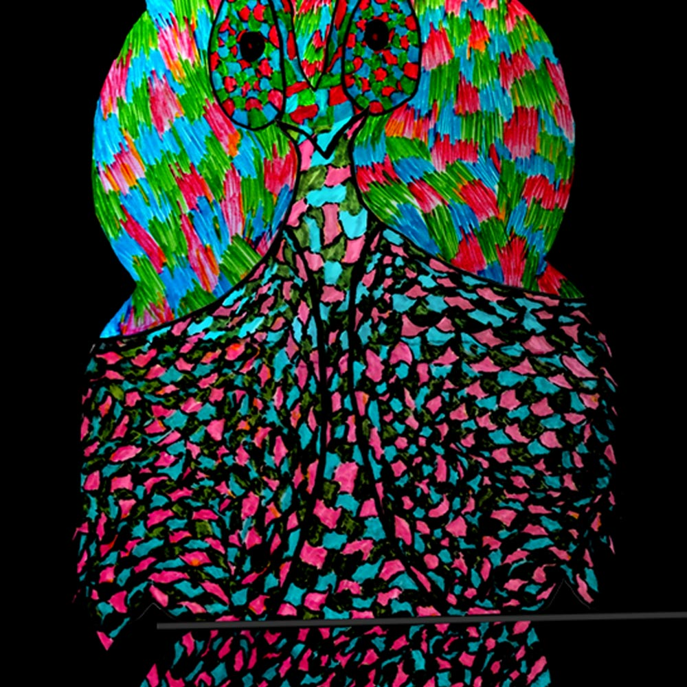 Owl in the Dark – quirky art print