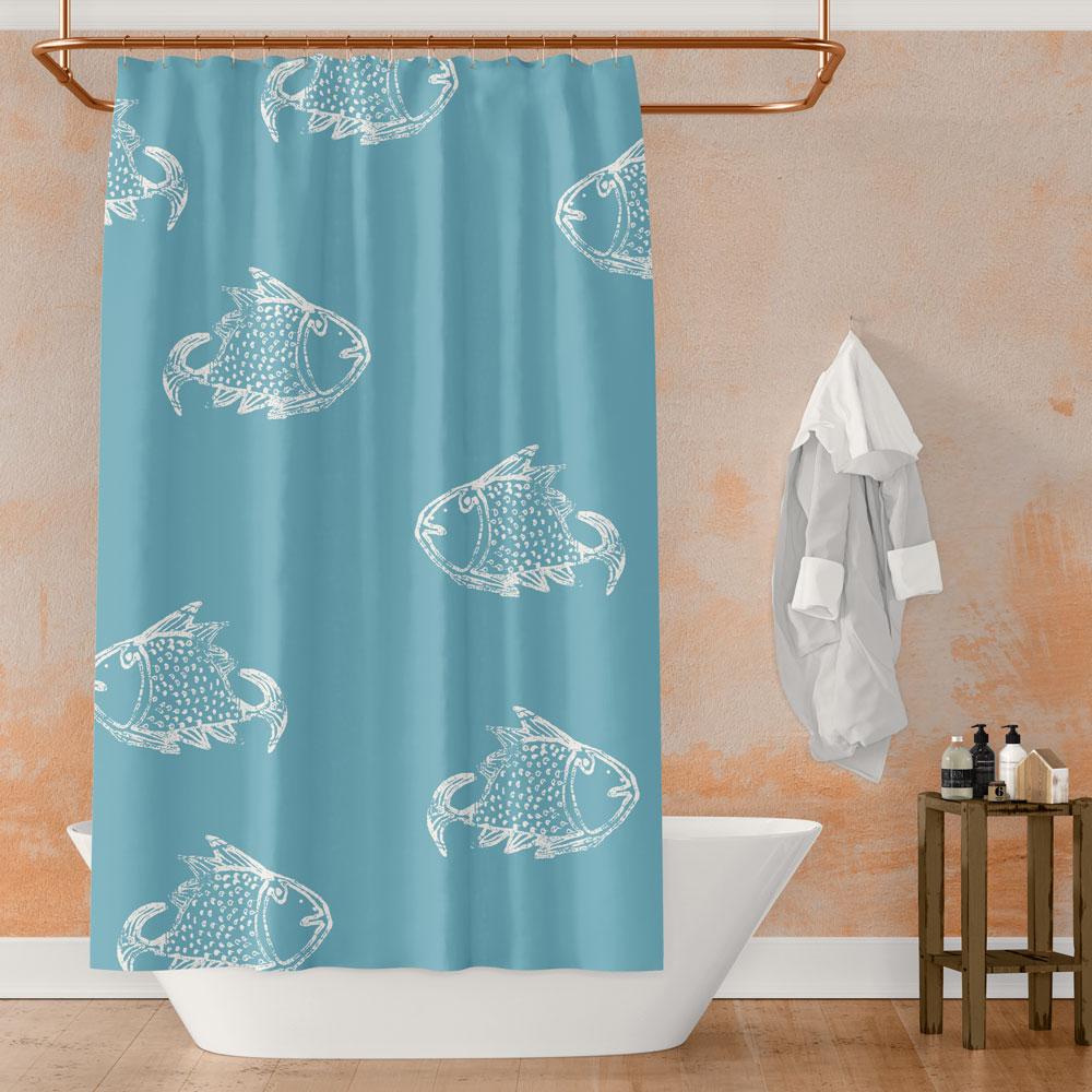 Big Fish – white on blue shower curtain