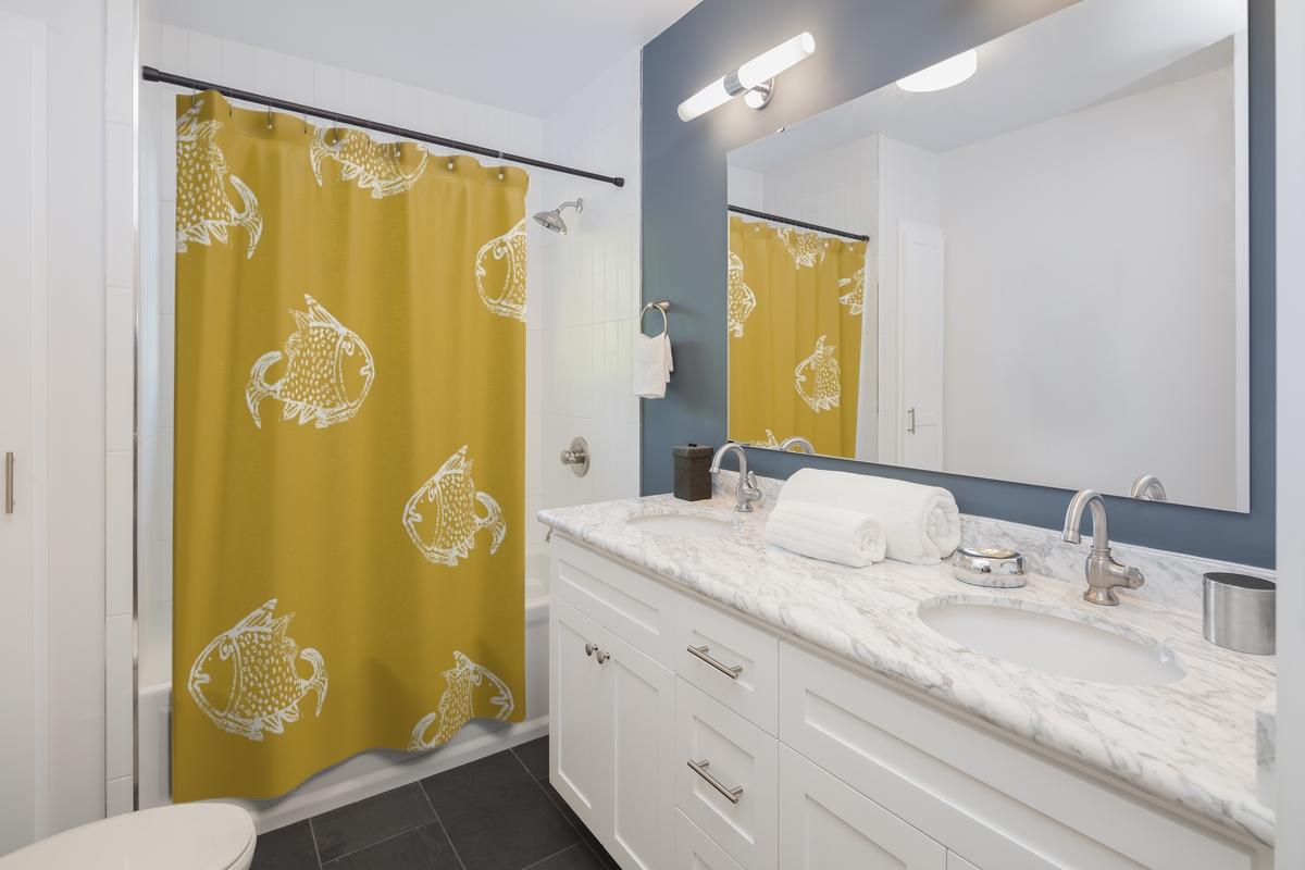 Big Fish – white on mustard shower curtain