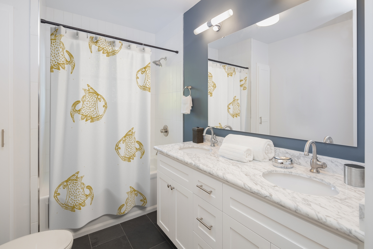 Big Fish – mustard on white shower curtain