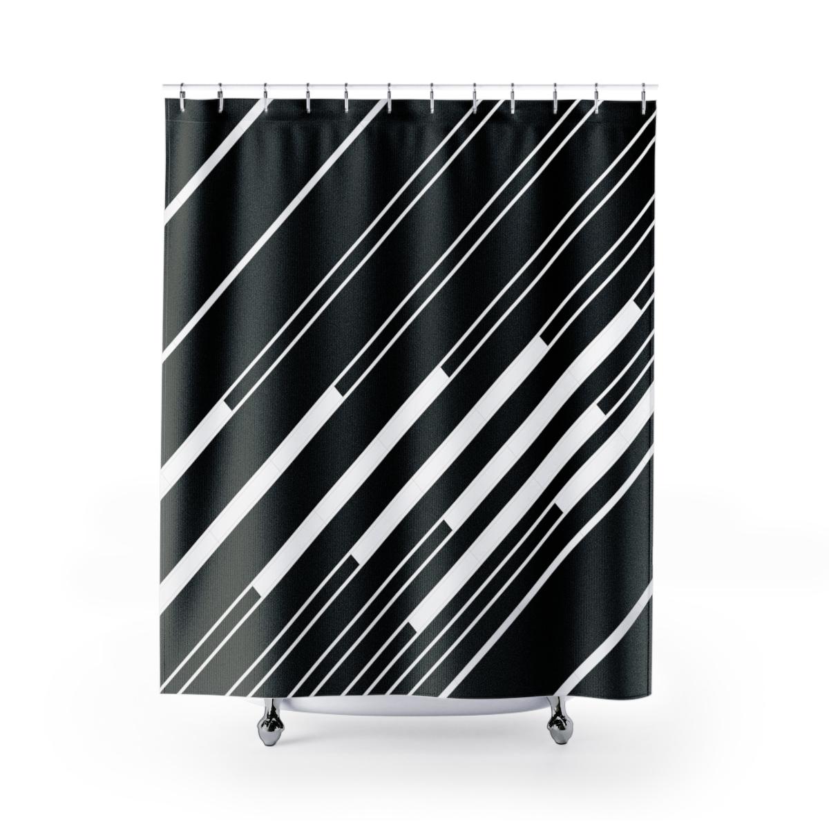 Ivory Keys: black shower curtain with diagonal stripes