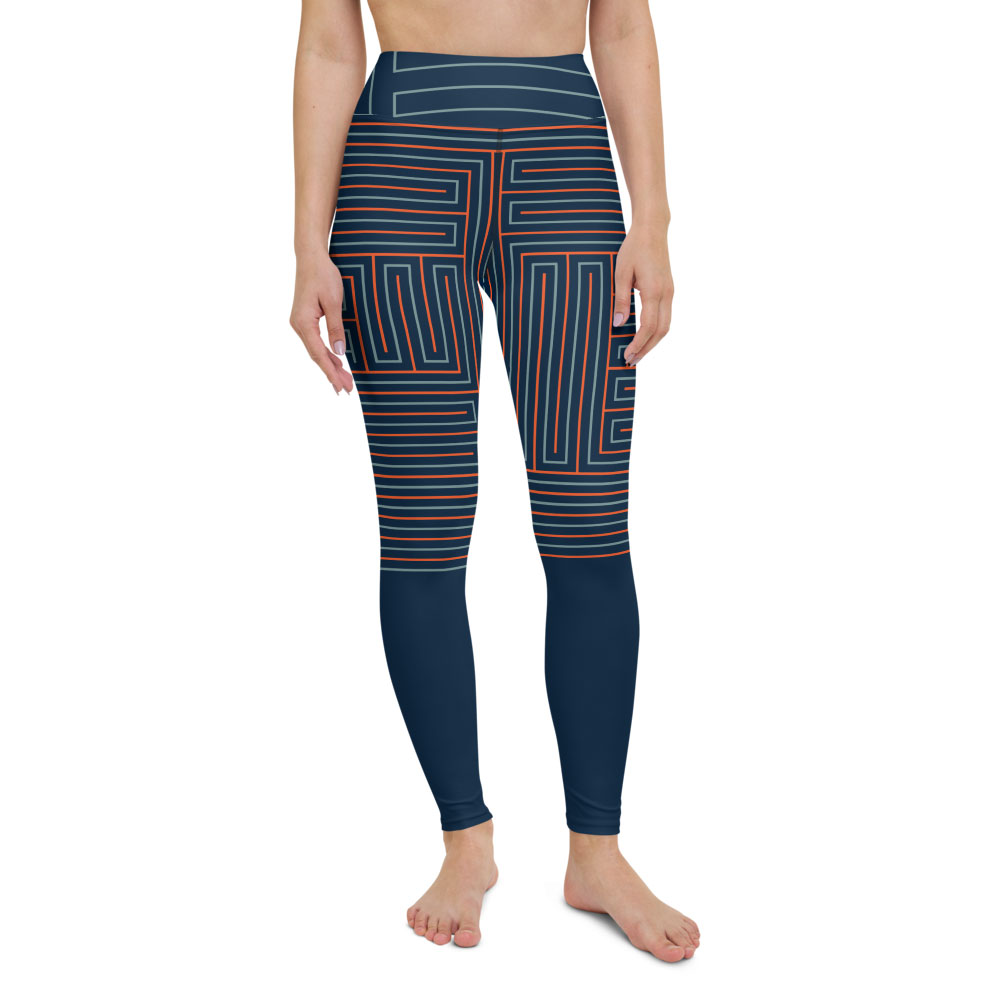 Blue & Orange High-Waist Yoga Leggings – Life's Maze