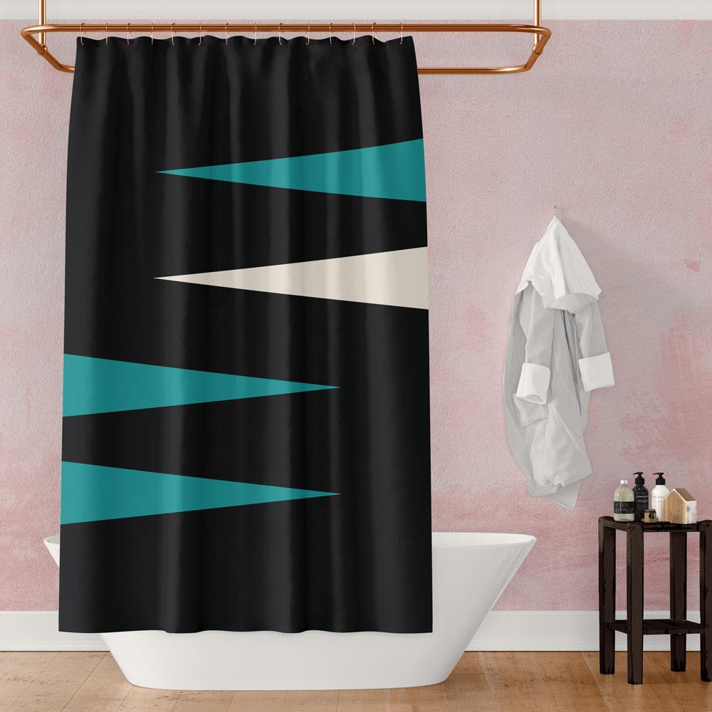 Shards of Color (Teal) – black & teal shower curtain