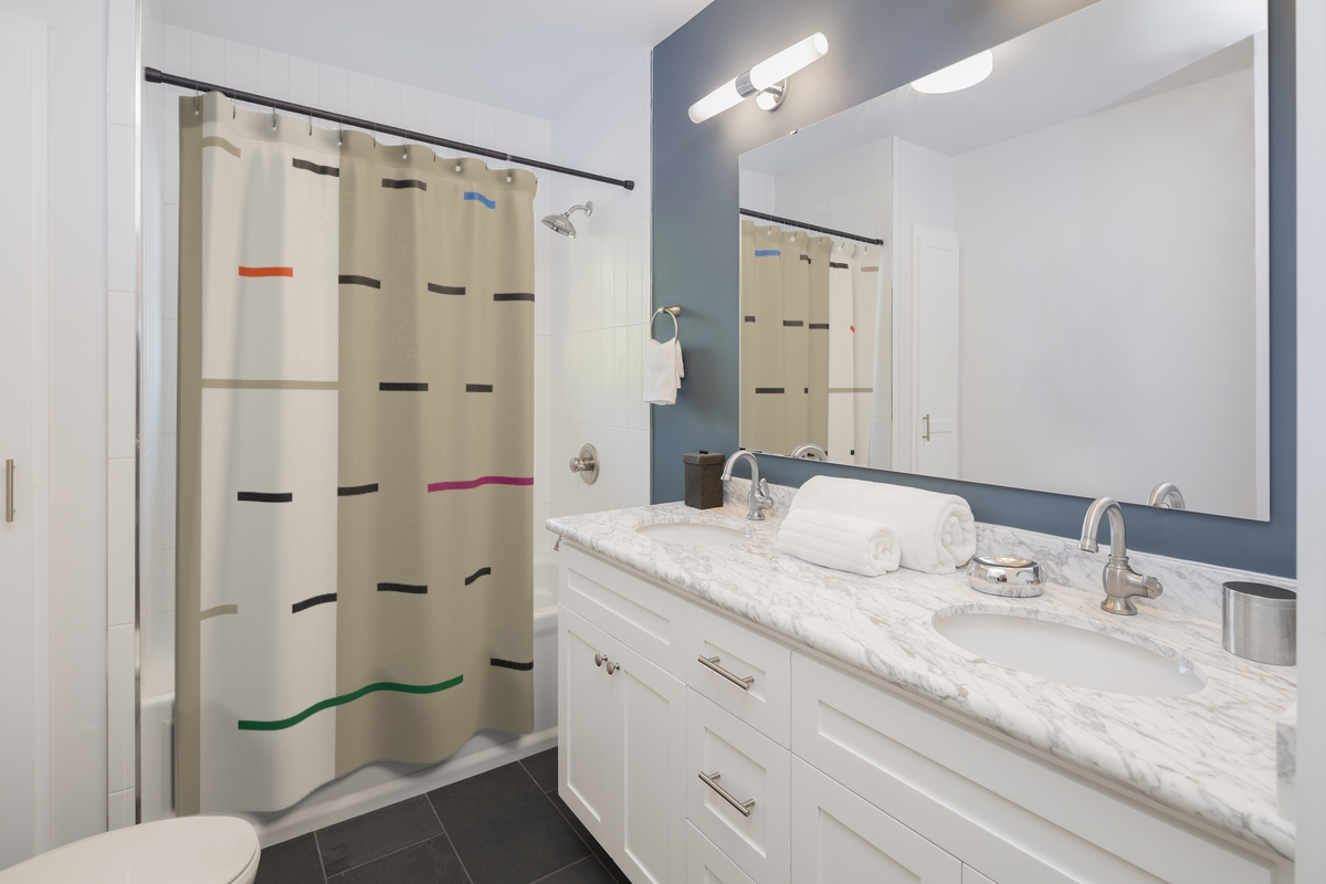 Linear Earthtone Shower Curtain – inspired by Fulani blankets