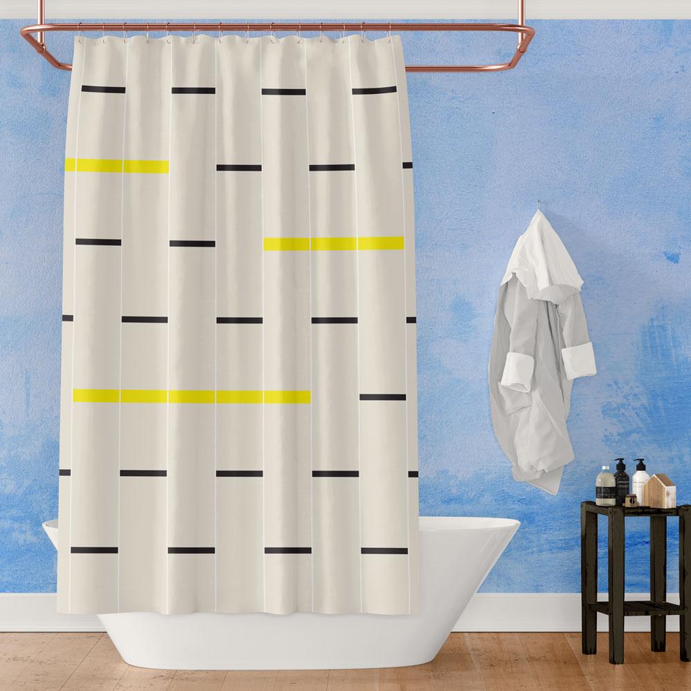 Bold Modernist Linear Shower Curtain (beige, black & yellow)