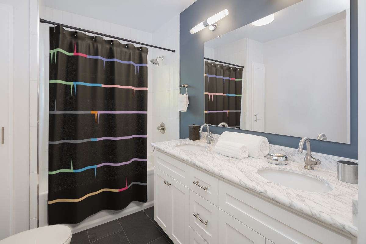 Black Modernist Striped Shower Curtain