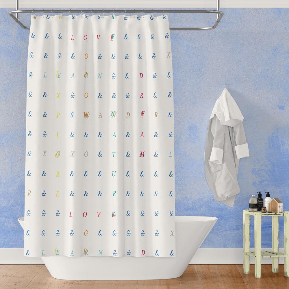 Live Love Explore – Typographic Shower Curtain