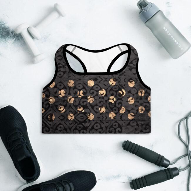 Onyx & Gold Batik Print Sports Bra