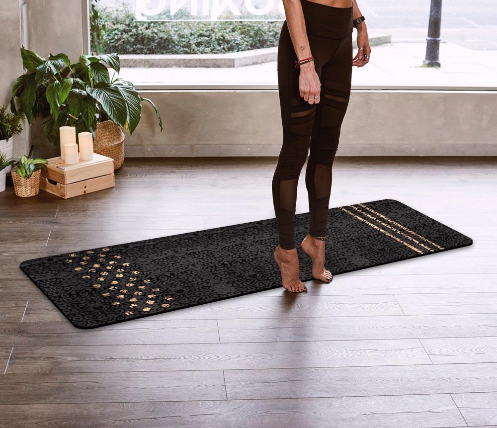 Onyx & Gold Adire Yoga Mat