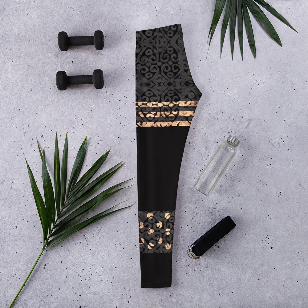 Onyx & Gold Batik Print Leggings