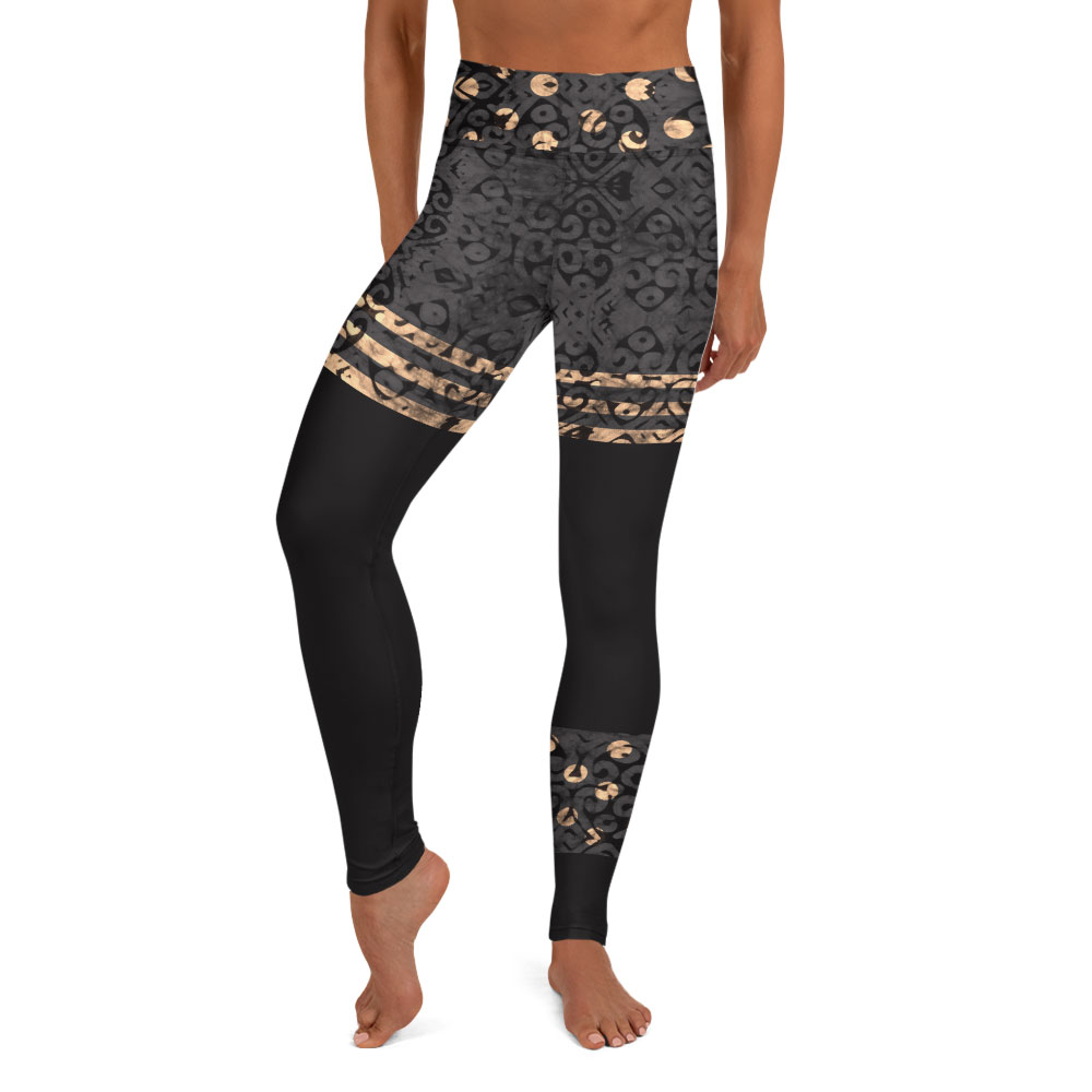 Onyx & Gold Batik Print Yoga Leggings
