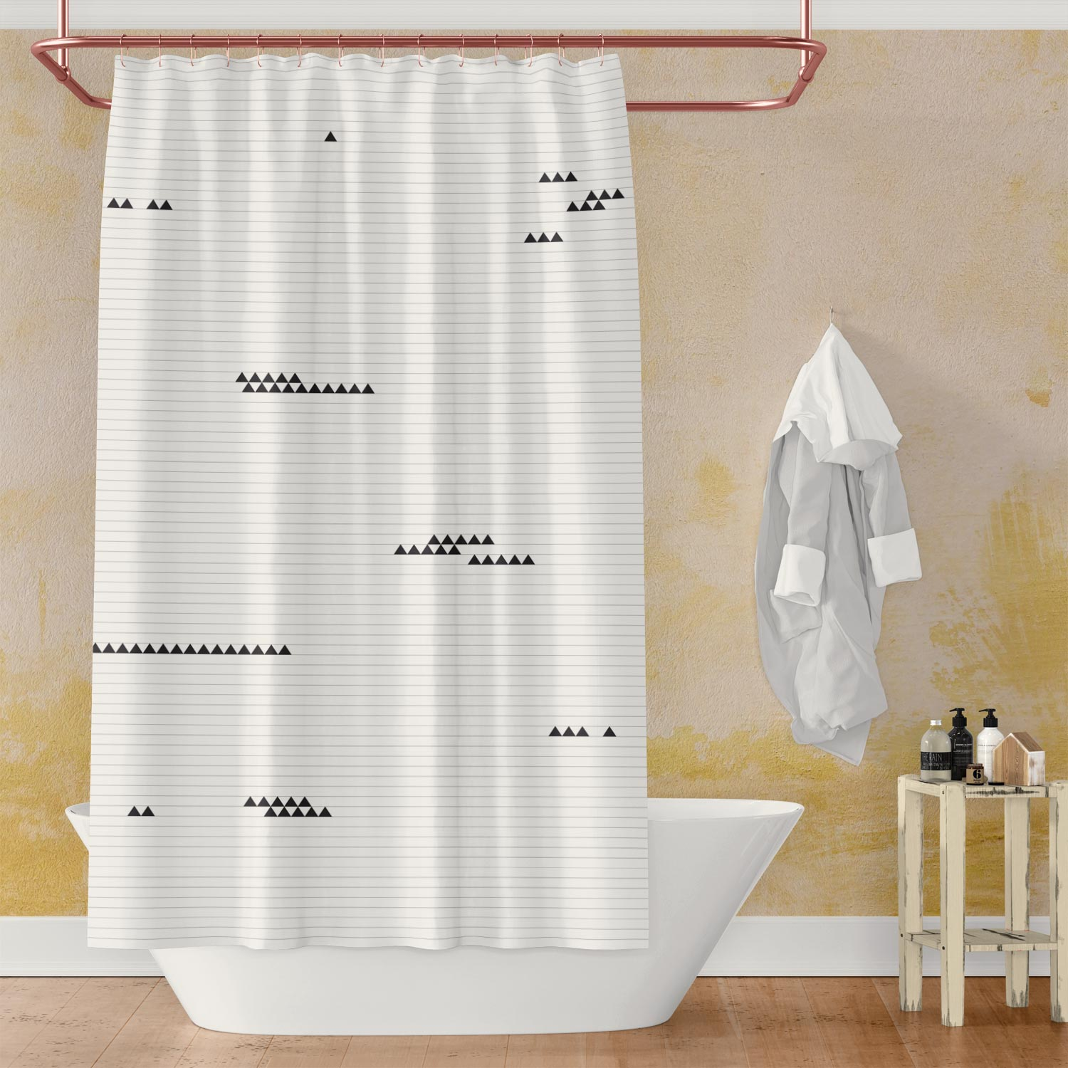 Black & White Shower Curtain with Minimalist Triangle Design