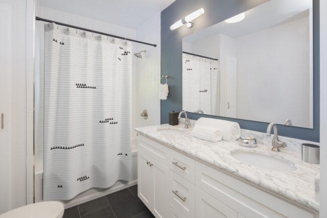 Black & White Shower Curtain with Minimalist Triangle Design