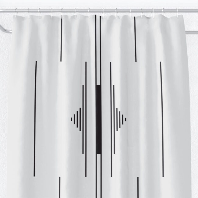 Black & White Fulani-inspired Shower Curtain (vertical)