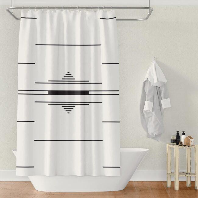 Black & White Fulani-inspired Shower Curtain