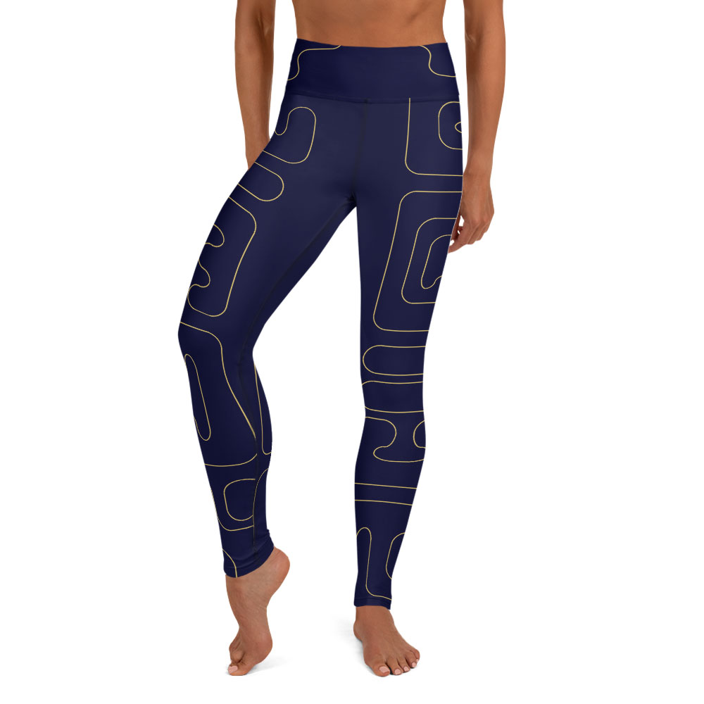 Blue & Gold High-Waist Yoga Leggings – Kuba Glyphs