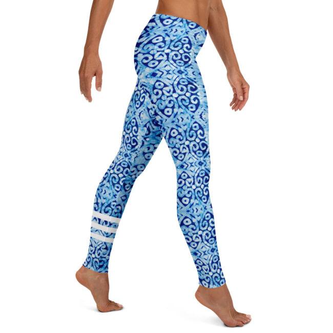 Blue & White Batik Print Leggings