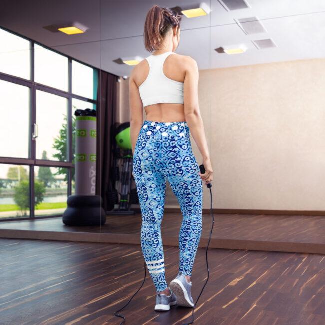 Blue & White Batik Print Yoga Leggings