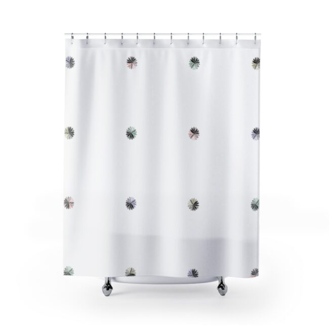 Abstract Floral Grid Shower Curtain (black & pastels)