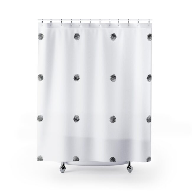 Abstract Floral Grid Shower Curtain (monochrome black)