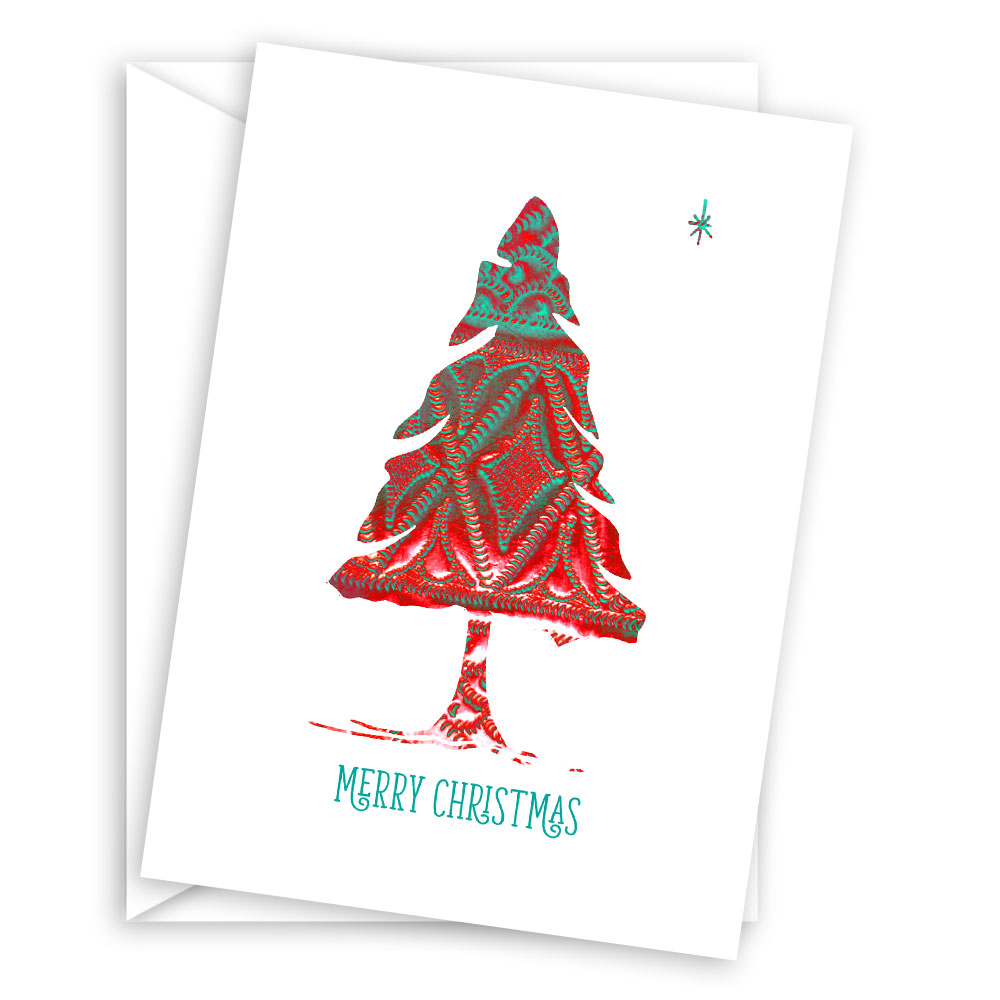Festive Xmas Tree Greeting Card Set (10 cards)