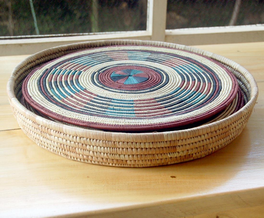African Basket Set 12 Rustic Red Green Afrimod