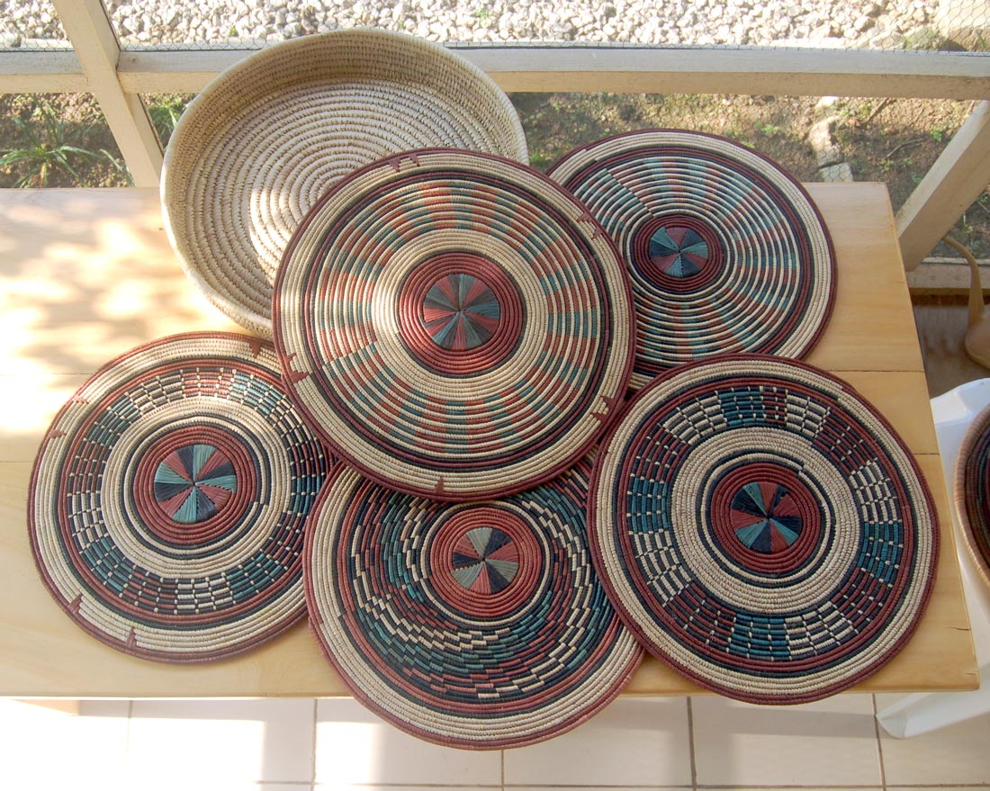 African flat Baskets | Set #13 – Rustic Red & Green