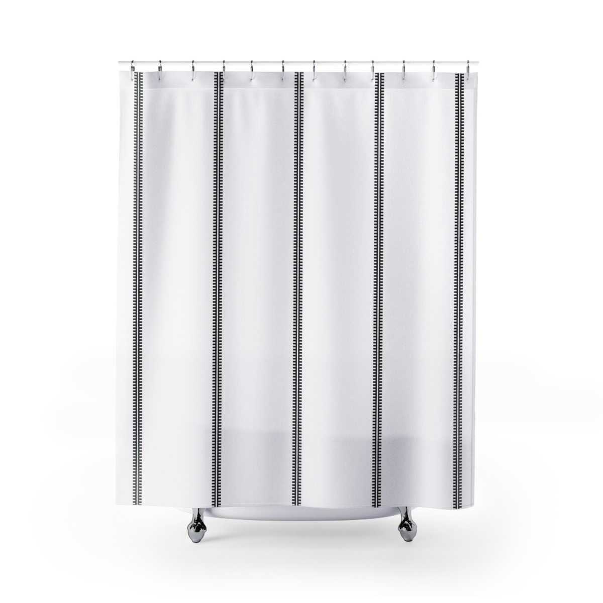 Classy Black & White Shower Curtain inspired by Mud Cloth linear motifs