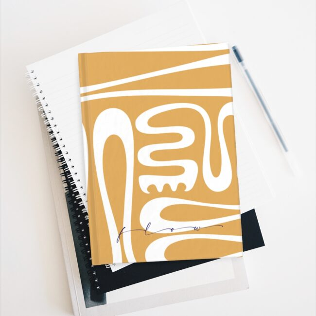 Creative Flow (full cover design in mustard) – blank or lined notebook