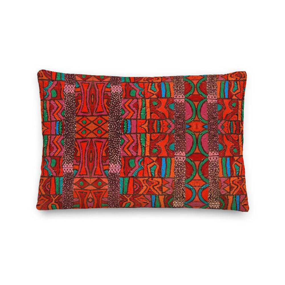 Red Abstract Art Lumbar Pillow