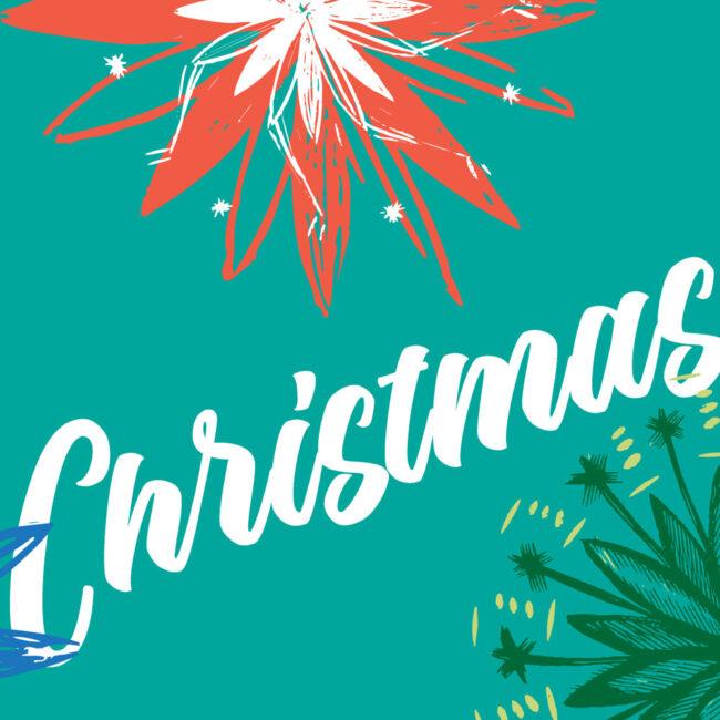 Tropical Modern Christmas Card Set (10 cards)