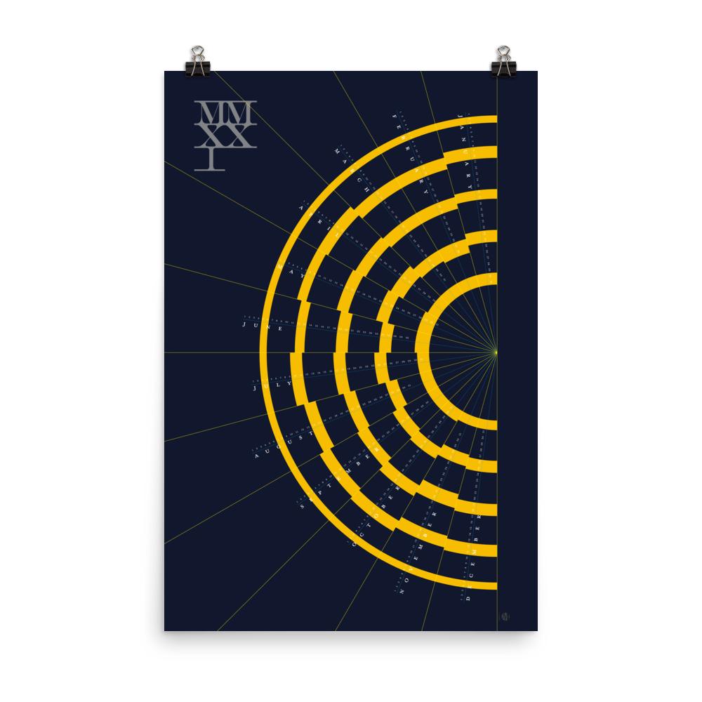 Modern Year-at-a-Glance 2021 Calendar – New Rays (Dawn)