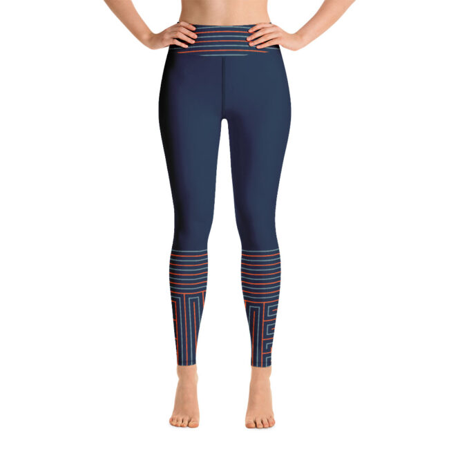 Blue & Orange High-Waist Yoga Leggings – Life's Maze II