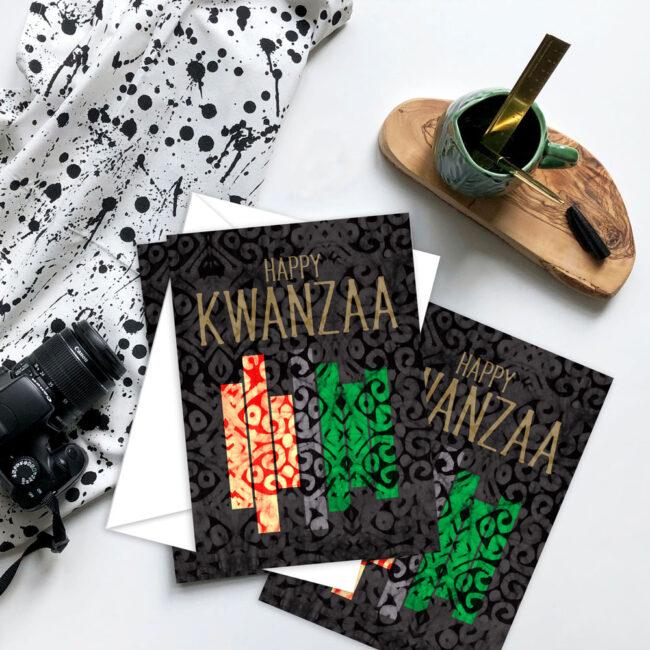 Modern Kwanzaa Card Set – blank inside (10 cards)