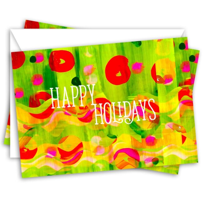 Happy Holidays Abstract Art Greeting Card – set of 10 holiday cards