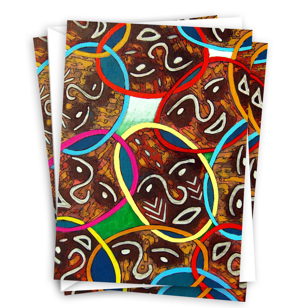 Unity in Diversity – Abstract African art greeting card set (10 cards)