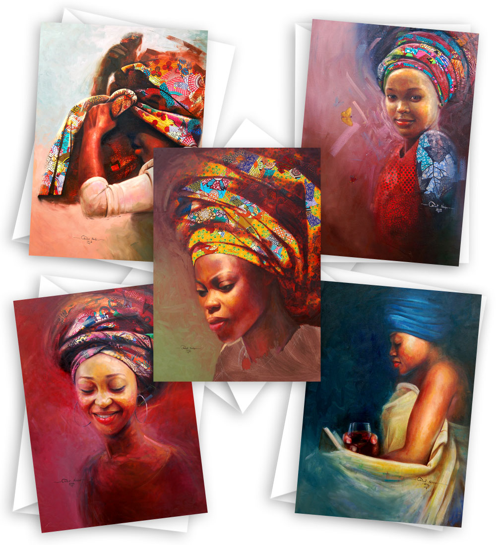 Sisterhood of the Headwraps: Blank African art cards (10 cards set)