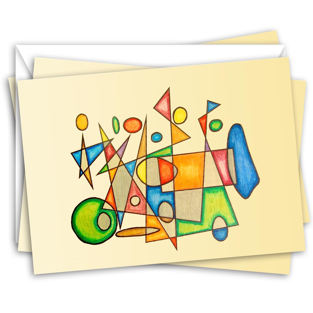 Vintage Ride (set of 10 notecards) – abstract illustration of a vintage car in motion