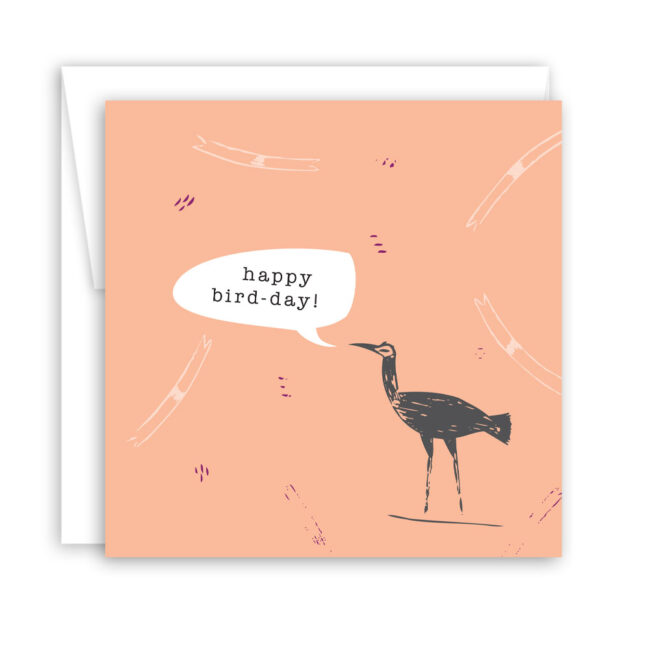 Happy Bird-Day! – set of 6 quirky birthday cards (mid-century mod peach & turquoise)