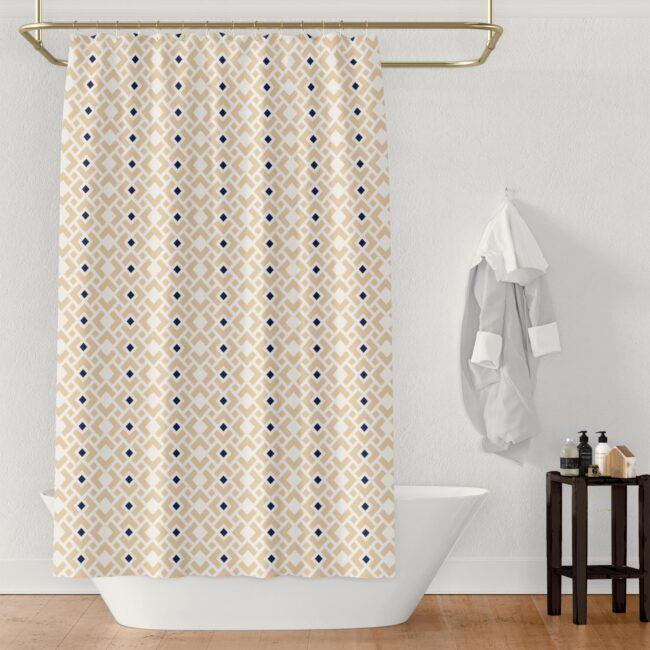 White Diamond & Sapphire Shower Curtain in Cream