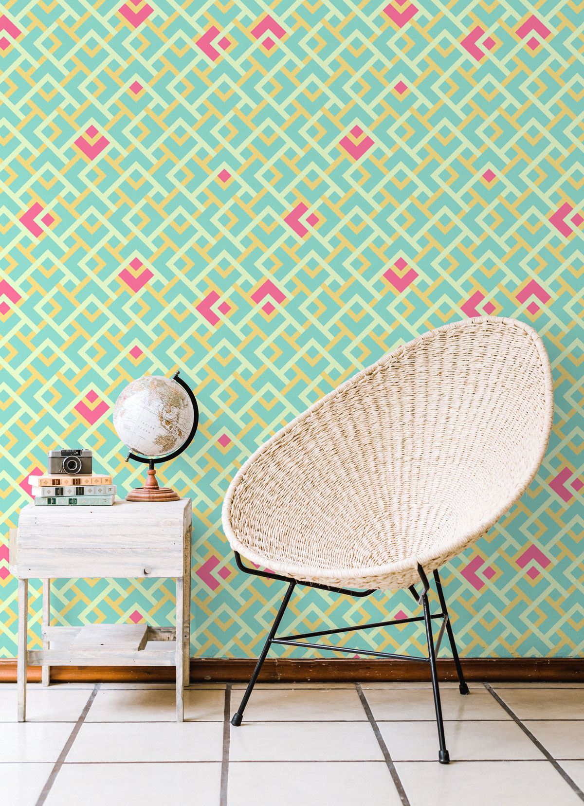 Playful Geometric Wallpaper in Watermelon Colors
