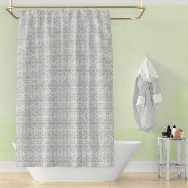 Grey and White Geometric Shower Curtain